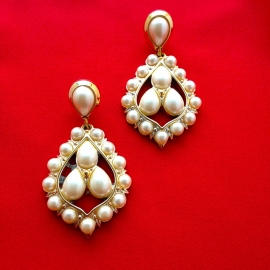 Pearl Clip Statement Earrings