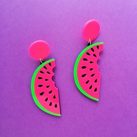 Pink Watermelon Earrings