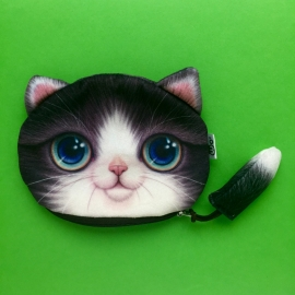 Dark Grey Happy Cat Wallet XL