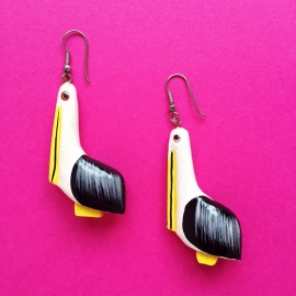 Bird Handpainted Earrings Black/Yellow/White Wood