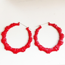 Red Bamboo Earrings XL
