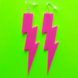 Pink Thunder Acrylic Earrings