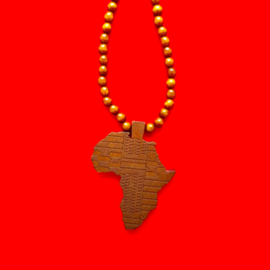 Brown Wood Africa Long Necklace