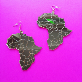 Acrylic Africa Gold Earrings