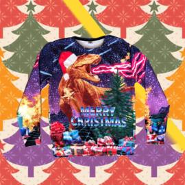 Merry Christmas Sweater Dinosaur