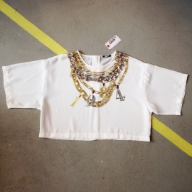 White Chainprint 1984 Loosefit Croptop
