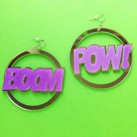 'Boom Pow' Acrylic Earrings Purple/Silver
