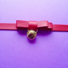 Choker Red Bow With Bell