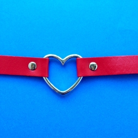 Choker Red Silver Heart