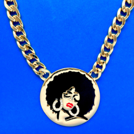 Gold Afro Girl Necklace