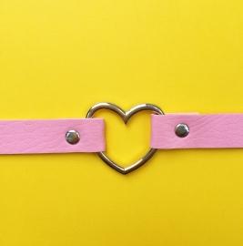 Choker Pink Silver Heart