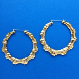 Bamboo Earrings Gold XL