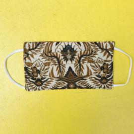 Facemask Beige/Black Batik Reversible