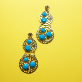 Blue stones silver earrings