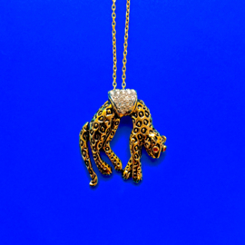 Long Hanging Leopard Gold Necklace