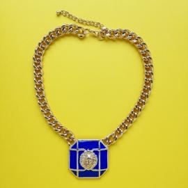 Blue Square Lion Gold Chain Necklace
