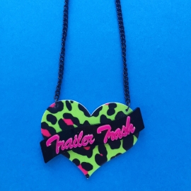 'Trailer Trash' Green & Pink Acrylic Leopard Print on Black Chain