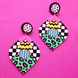 80ies  Print Acrylic Earrings