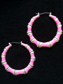 Silver & Pink Bamboo Hoops