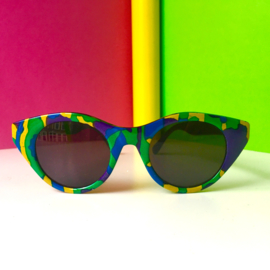 Blue Green and Yellow Printed 80s Sunglasses