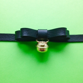 Choker Black Bow With Bell