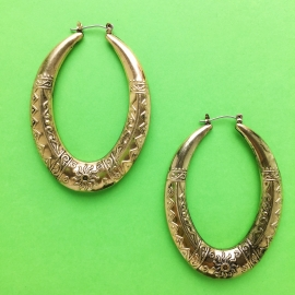 Oval Bronze Gold Hoop Earrings
