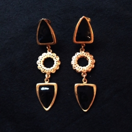 Black & Gold Clip earrings