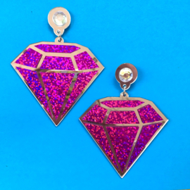 Pink Diamond Acrylic Earrings