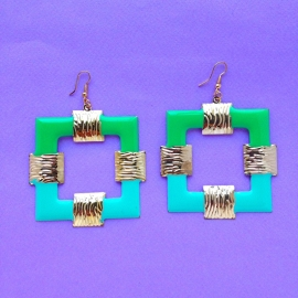Green & Mint Square Earrings