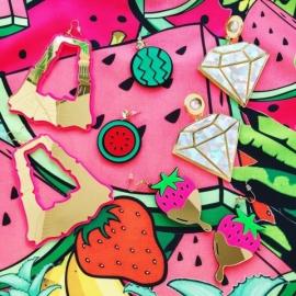 Pink Watermelon Earrings