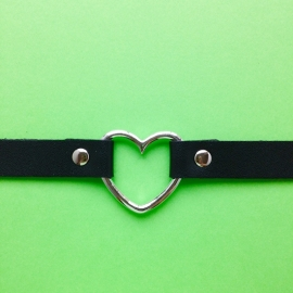 Choker Black Silver Heart