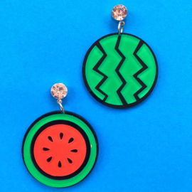 Round Watermelon Acrylic Earrings
