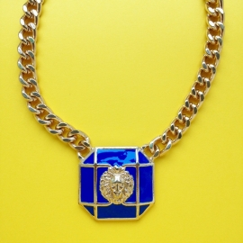 Blue Square Lion Gold Chain Necklace