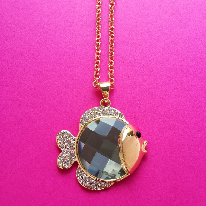 Gold Diamond Fish Necklace