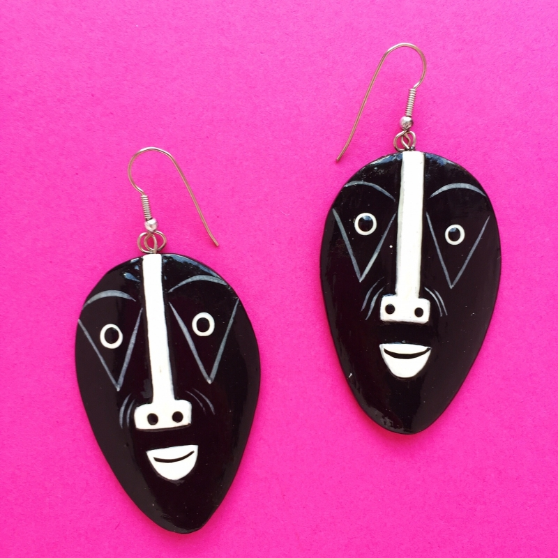 Mask Black & White Handpainted Earrings