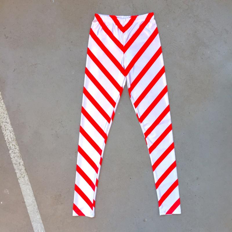 Red and White Stripe Legging