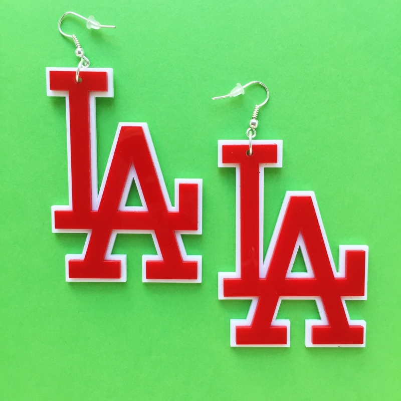 Red Acrylic LA Earrings