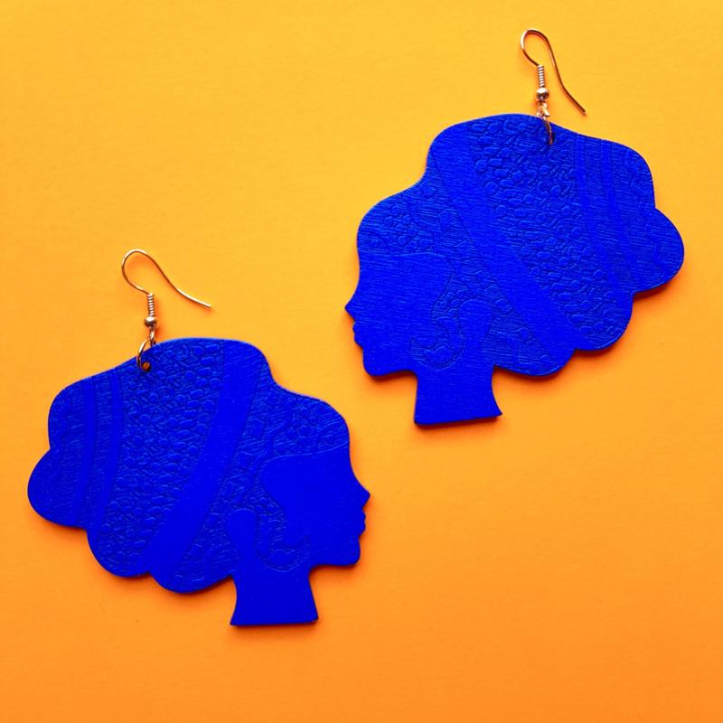 Blue Wooden Headwrap Lady Earrings