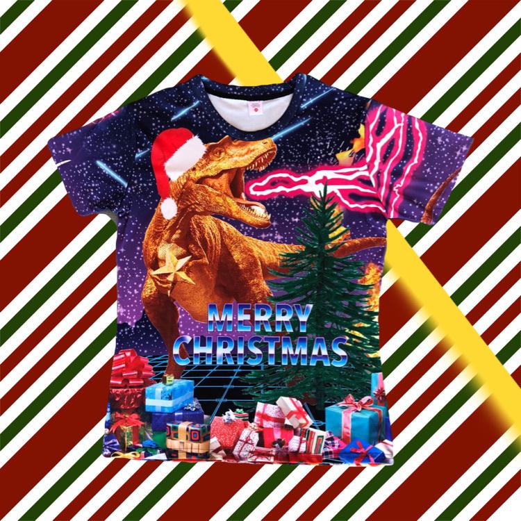 Merry Christmas T-shirt Dinosaur