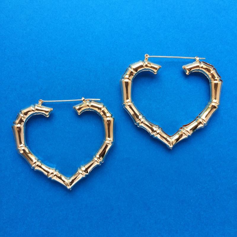 Heart Bamboo Earrings Gold