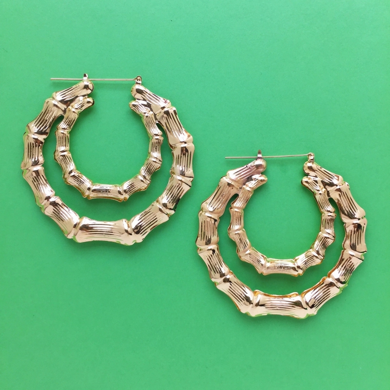 Double Bamboo Earrings Gold XL