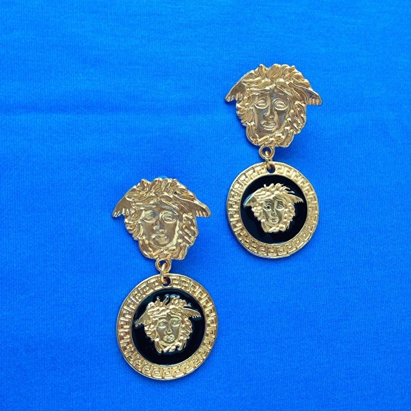 Gold & Black Medusa Earrings