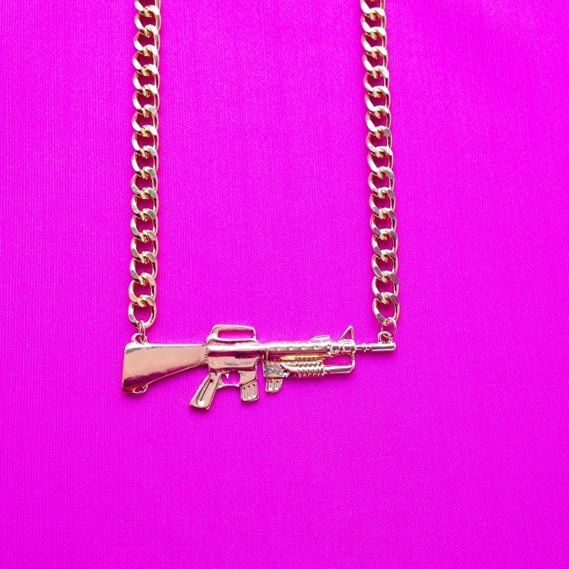Gun Short Necklace in Gold