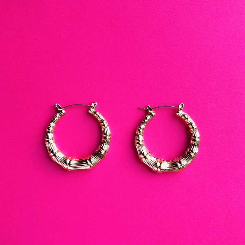 Bamboo gold earrings extra small