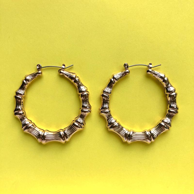 Bamboo earrings gold medium