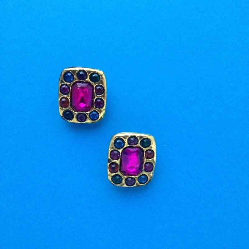 Vintage colored diamond clips