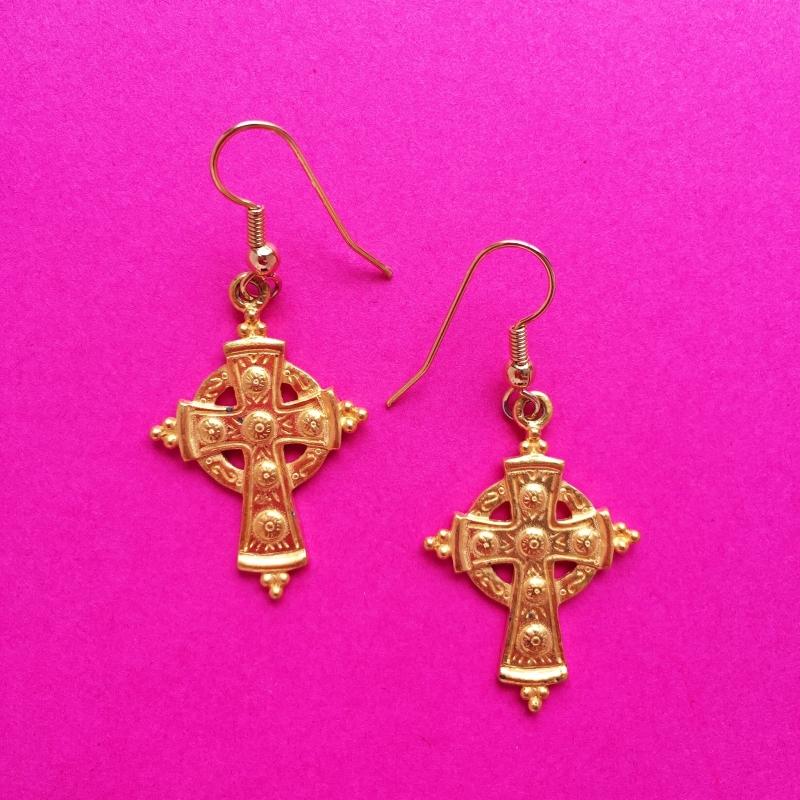 Small Cross Gold Earrings