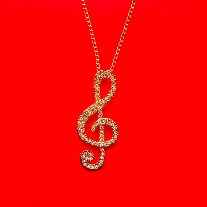 Gold Music Note Long Necklace