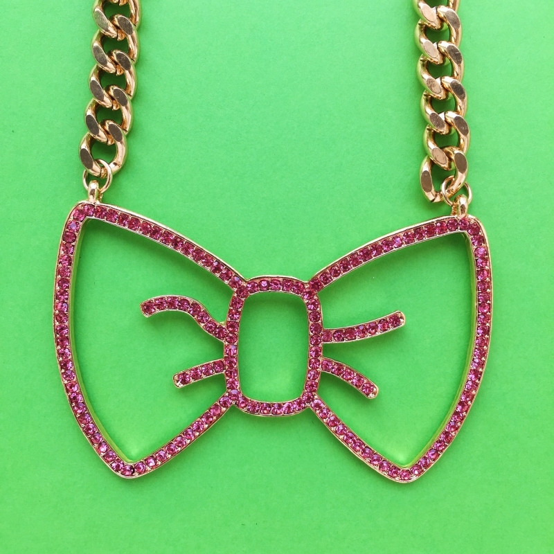 Hello Kitty Pink Bow Chain Necklace