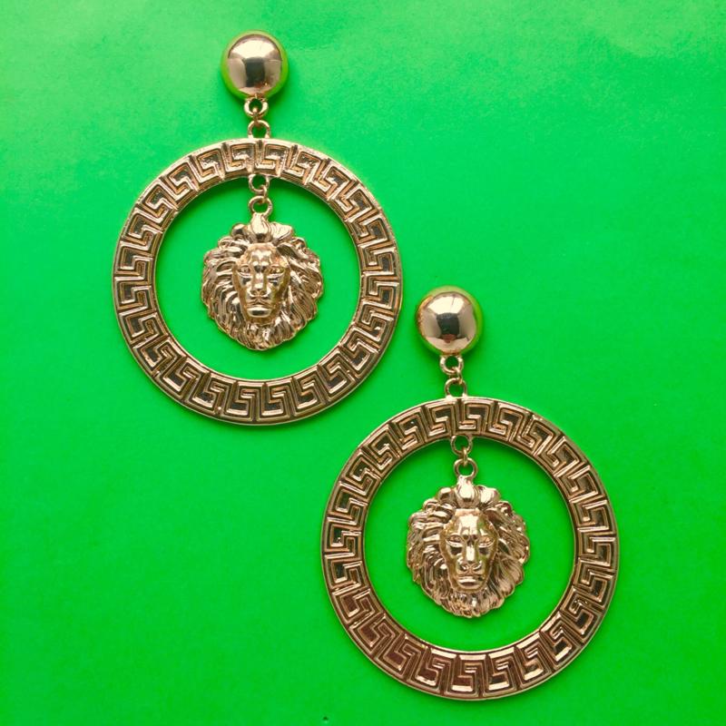 Gold Lion Circle Earrings